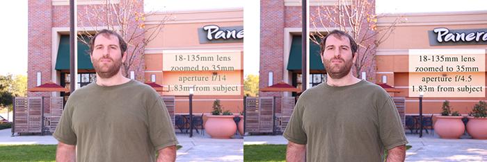 Same lens, same distance, but different aperture.