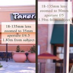 Same lens, same aperture range, but different focal lengths and subject distance from camera.