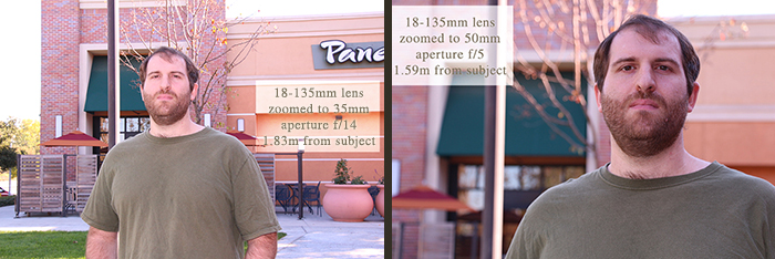 Same lens, different aperture settings and focal lengths (zoom settings.