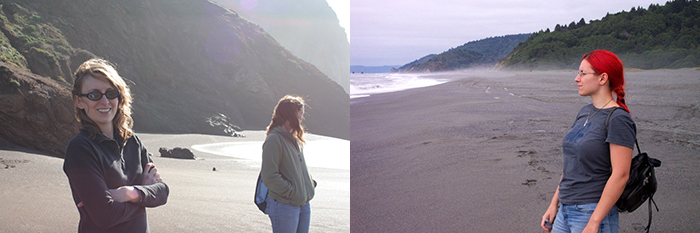 Sunny California vs. Overcast Portland. And yes, my hair really was that color once upon a time!