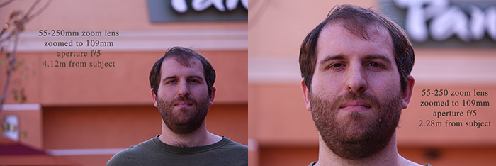 Same zoom lens and aperture, same zoom setting, but different distances from the subject.