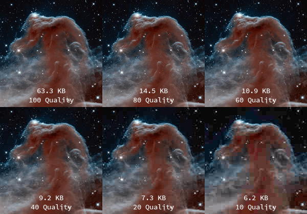 How a JPG is affected by quality and file size. The more compression, the lower the quality and clarity of the image. (From http://active-technologies.com/book/export/html/29)