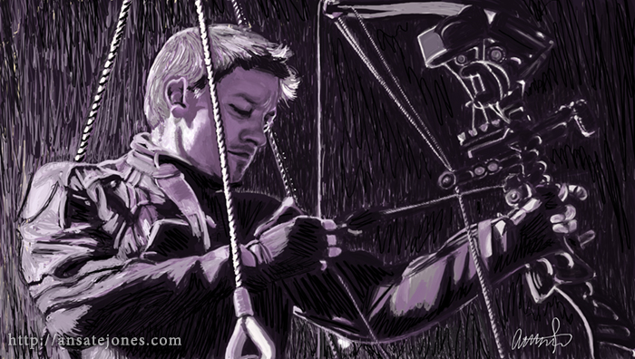 Jeremy Renner as Hawkeye in Thor. Reference provided by Marvel.